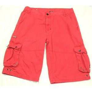 Coogi Sz 38 Cargo Baggy Shorts Mens Red Spellout